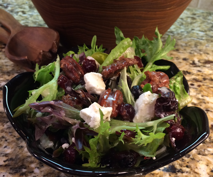 Spiced Glazed Pecan, Berries & Goat Cheese Salad